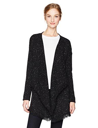 NYDJ Women's Tweed Cascade Sweater Cardigan, Black/Sugar, X-Large