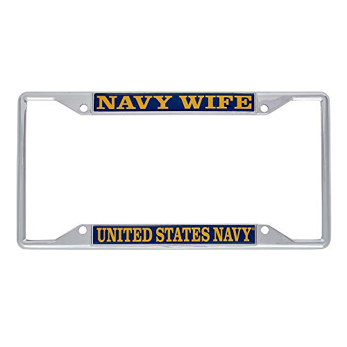 Desert Cactus US Navy Wife License Plate Frame for Front Back of Car Officially Licensed United States