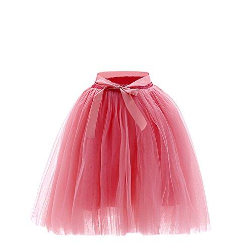 SaiDeng Femme Rtro Style Anne 50 Vintage Jupon Longue En Tulle Elastique Rockabilly Petticoat Tutu Pastque Rouge
