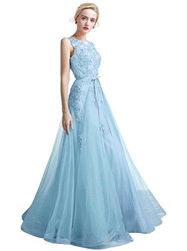 Damen A-Linie Tüll Perlen Langes Spitze Abendkleid für Hochzeit Hellblau KsvqP3