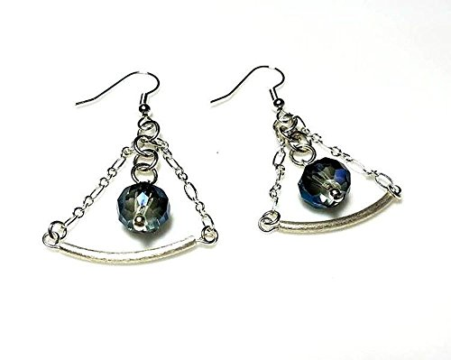 - Sapphire Blue Crystal Silver Tube Earrings in a Triangular Shape - Hypoallergenic or Nickel Free Ear Wires