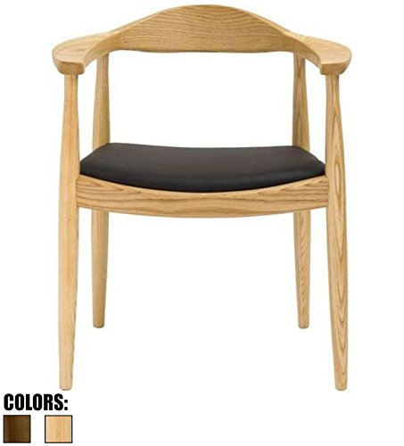 2xhome - Natural Modern Solid Real Oak Wood PU Leather Cushion Seat Kennedy Chair with Arm Armchair Dining Chair Hans Wegner Style (Leather Dining Chairs Cross)