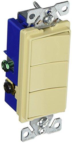 3 Single (Eaton 7729V-SP 15-Amp 3-Way 120-Volt Decorator Heavy Duty Grade Three Single-Pole Combination Switches, Ivory)