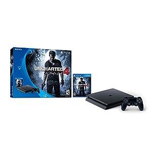 PlayStation 4 Slim Console 2 items Bundle:PS4 Slim - Uncharted 4 Bundle,Sony PlayStation 4 Dualshock 4 Wireless ControllerWave Blue