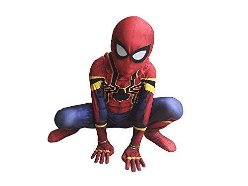 Kids Spiderman Cosplay Costumes Far from Home Jumpsuit Zentai Bodysuit Superhero Avengers Halloween 3D Style (XL (Height:55-60Inch), iron-01) ()