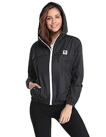 Aibrou Women's Lightweight Raincoats Waterproof Active Outdoor Packable Hooded Rain Jacket Trench Coats Black