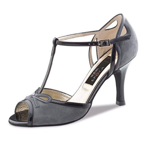 Nueva Epoca–Mujer Tango/Salsa Zapatos de baile Alexia–Piel gris/negro–6cm