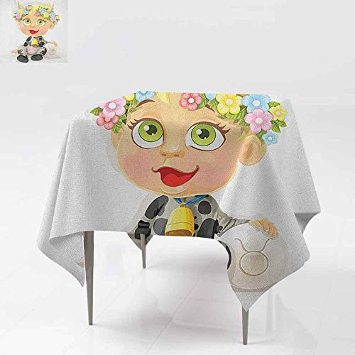 Washable Tablecloth,Zodiac Taurus,Happy Baby with Little Horns and Flowers Cow Bell and Costume Kids Cartoon,High-end Durable Creative Home,50x50 Inch Multicolor ()