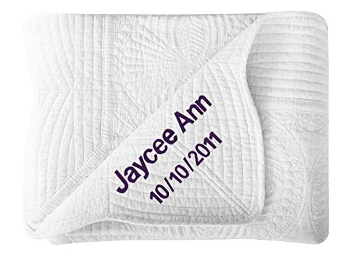 Personalized Baby Blanket Large Personalized Baby Blanket (White) - 36x48 ()