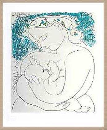 ポスター パブロ ピカソ 母性 額装品 ウッドベーシックフレーム(オフホワイト) B0031IWII0 オフホワイト オフホワイト