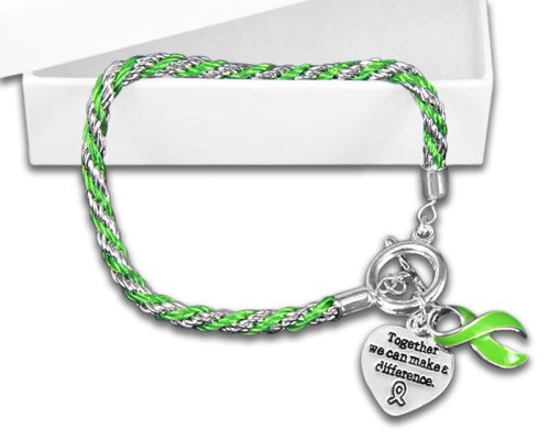 Lime Green Ribbon Bracelet - Rope (Retail) by Fundraising For A Cause