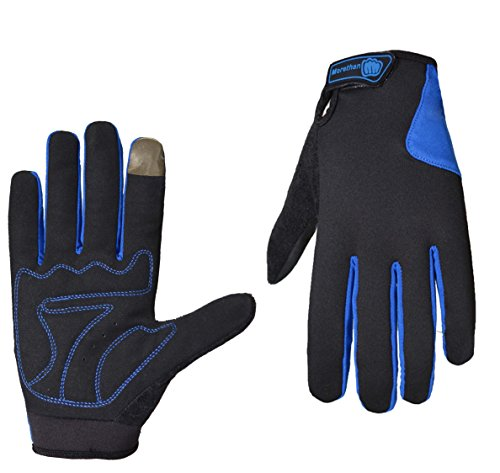 Morethan (Super Discount) Cycling Mountain Bike Gloves Road Racing Bicycle Gloves Light Silicone Gel Pad Biking Gloves Full Finger Bicycling Gloves Riding Gloves Men/Women Work Gloves (Blue, X-Large) ()