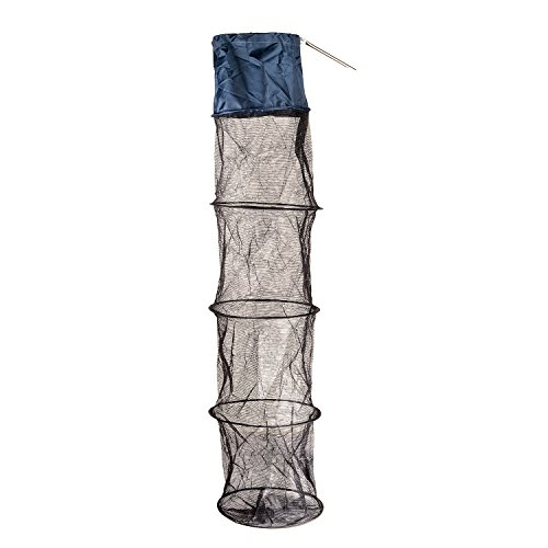 Fish Basket Traps Cage, 5 Layers Collapsible Fish Basket Net with Steel Stakes, Portable and Durable Lobster Trap Mesh Storage for Holding Fish (50 Inch) (Lobster Basket)