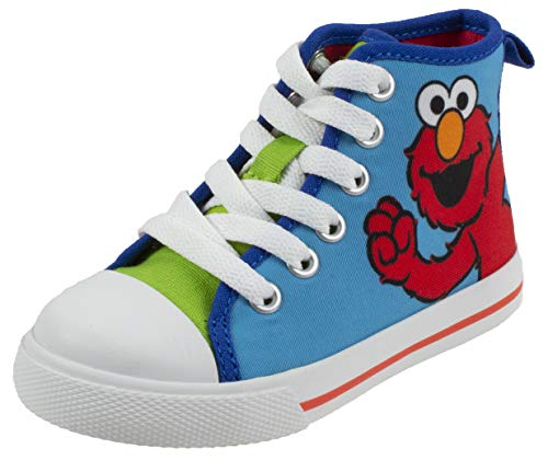Sesame Street Sneakers Shoes - Sesame Street Elmo Shoes, Hi Top Sneaker with Laces, Blue Green, Toddler Size 9