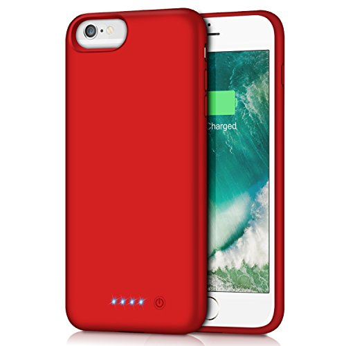 iPhone 6s Plus/6 Plus Battery Case,8500mAh Portable Rechargeable Charging Case External Battery Pack for iPhone 6Plus/6s Plus Protective Charger Case Apple Battery Power Bank (5.5 Inch) (Red) by Trswyop