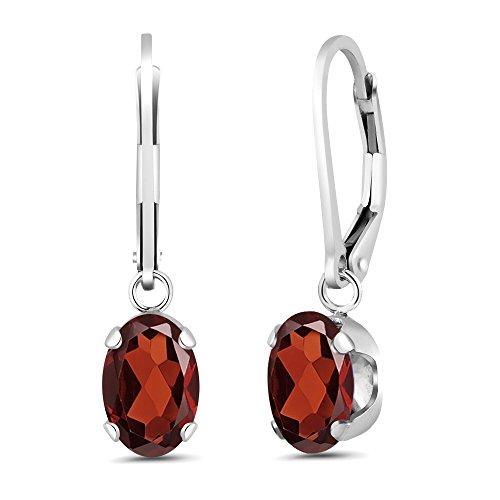 Gem Stone King 925 Sterling Silver Oval Red Garnet Gemstone Birthstone Women's Earrings (2.80 Cttw, 8X6MM Oval)