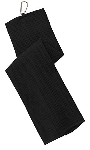 Port Authority Men's Waffle Microfiber Golf Towel OSFA Black