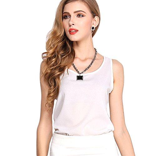Zhaoyun Womens Chiffon Summer Casual Sleeveless Shirt Blouse Tank Top (Beaded Georgette Skirt Set)