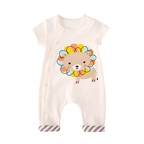 pureborn Newborn Baby Boys Girls Cute Cartoon Romper Outfits Short Sleeve Summer Bodysuit Beige 3-6M/66cm