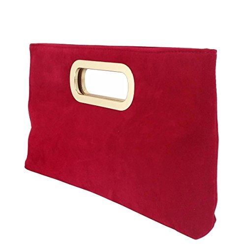 Faux Handle Suede Clutch Red Top 4qHZ7Bwx7
