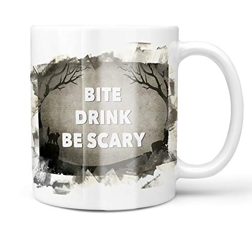 Neonblond 11oz Coffee Mug Bite Drink Be Scary Halloween Graveyard with your Custom Name ()