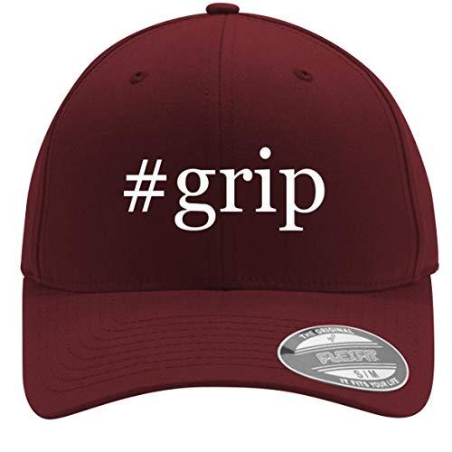 #Grip - Adult Men's Hashtag Flexfit Baseball Hat Cap, Maroon, Large/X-Large