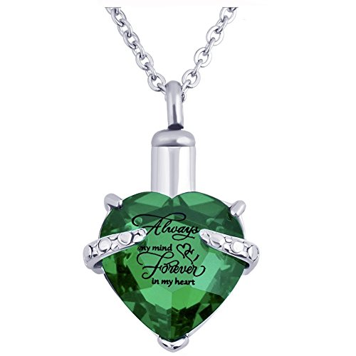 PREKIAR Heart Cremation Urn Necklace for Ashes Urn Jewelry Memorial Pendant with Fill Kit and Gift Box - Always on My Mind Forever in My Heart (Green)