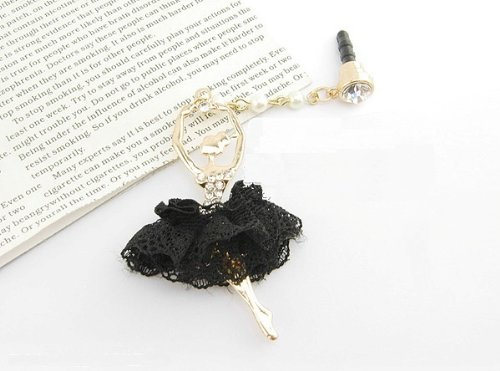 CJB Dust Plug / Earphone Jack Accessory Ballet Girl Black Lace Dress for iPhone 4 4s S4 5 All Device with 3.5mm Jack (US Seller)
