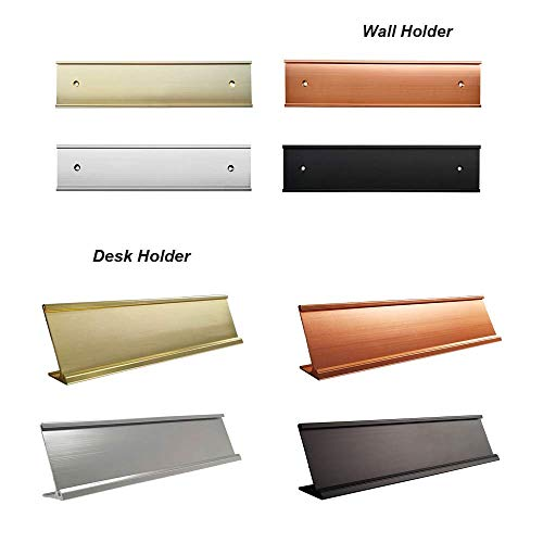 Office Name Plate Holders - Fits Standard Size 2x8, Goes on Wall or Desk, Choose Color and Type (2x8 inch) ()