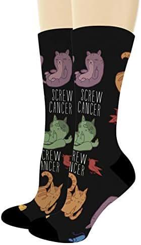 Middle Finger Cat Socks Screw Cancer Socks Cancer Survivor Gifts Cancer Awareness Novelty Crew Socks