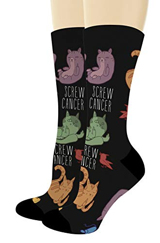 - Chemo Gifts Screw Cancer Sock Funny Cat Lover Gifts Multiple Cancer Colors 1-Pair Novelty Crew Socks