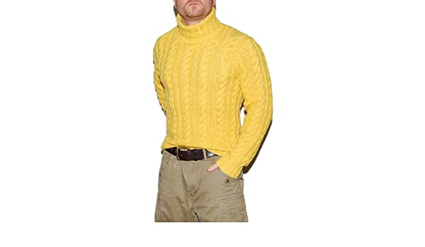 4d291cf89 Polo Ralph Lauren Mens Cashmere Hand Knit Cable 4-Ply Thick Turtleneck  Sweater Yellow Small at Amazon Men s Clothing store