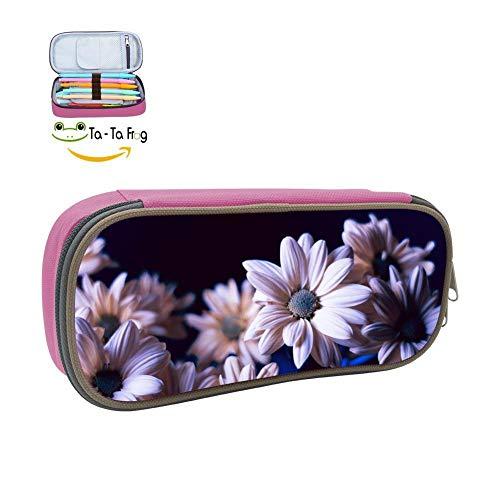 dandanSun Lavender Daisy Pencil Case Student Canvas Pen Box Stationery Pouch Multilayer Storage Bag Pink (Pen Beaded Daisy)