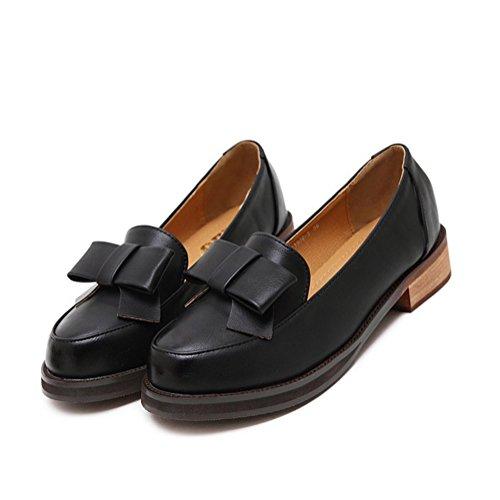 T-juli Kvinna Mode Oxfords Skor - Bekväma Slip På Låg Klack Rund Tå Bowknot Skor Svarta