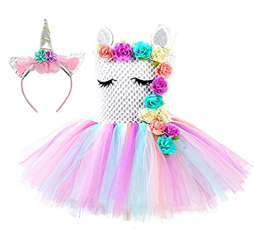(Tutu Dreams Unicorn Dress with Headband Flower Girl Birthday Party Easter Pageant Wedding (White,)