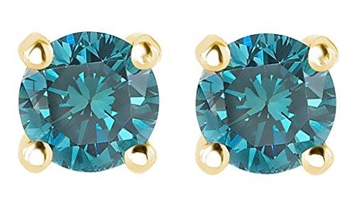 PARIKHS Round Blue Diamond Stud AAA Quality in Yellow Gold ()