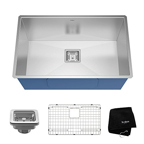 Kraus KHU29 Pax Zero-Radius 28 1/2'' 16 Gauge Handmade Undermount Single Bowl Stainless Steel Kitchen Sink by Kraus