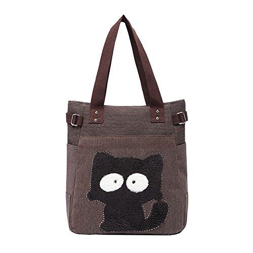 Women handle Bags Handbag Café Shopping Cartoon Shoulder Top For Vrikoo Cat Tote Canvas TxYqZzw1