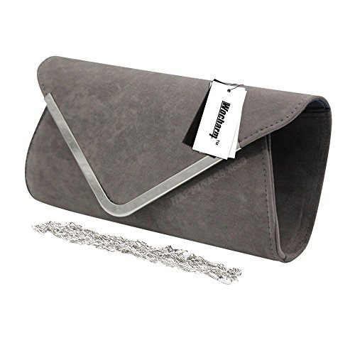 Wocharm Trim Wedding Suede Women's Celebrity Bag Bag Faux Grey Evening Hand Prom Party Silver Clutch Style Handbag Designer Ladies rZwSq18r