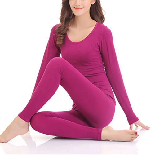 Zhhlinyuan Ladies Mujeres Soft Cotton Round Neck Warm Lines Shirt and Pants Thermal Underwear Suits Black