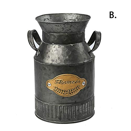 Rustic Farmhouse Vase for Decor - Pitcher Flower Holder - French Bucket Decorated for Living Room, Bedroom, Kitchen (Living Decorated Country Rooms)