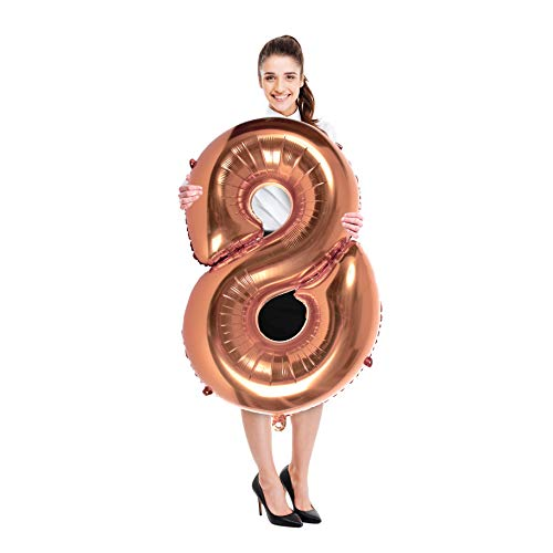 Treasures Gifted 40 Inches Rose Gold Number 8 Foil Mylar Balloons for Birthday Anniversary Celebration Party Decorations