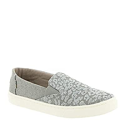 TOMS Neutral Grey Cheetah Embroidery Twill Glimmer Youth Luca Slip-Ons Shoes (6 M Big Kid)