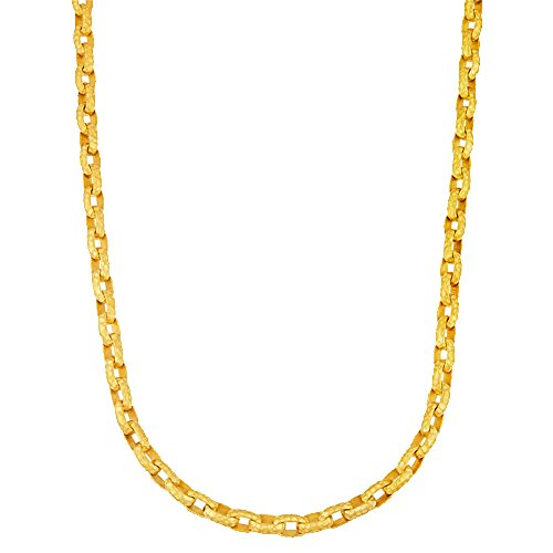 Hammered Oval Link Chain - 18k Yellow Gold Solid Hand-Made 8mm Hammered Satin Finish Oval Link Chain Necklace - 30