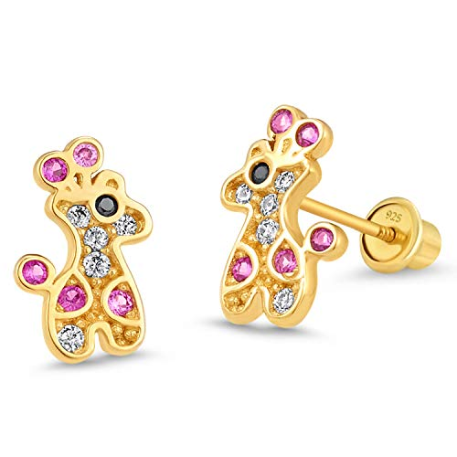 14k Gold Plated Brass Giraffe Cubic Zirconia Screwback Baby Girls Earrings with Sterling Silver Post