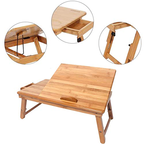 (Bamboo Lap Desk Foldable Notebook Laptop Standing Table Adjustable Breakfast Serving Bed Tray Tilting Top Drawer 53cm Trendy Wood)