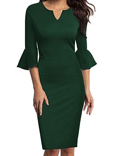 WOOSUNZE Womens Flounce Bell Sleeve Office Work Casual Pencil Dress (Green, XX-Large) ()