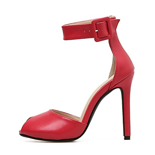 Boca Las de de Stiletto Nuevo Sexy de 5 Rojo Negro Pescado Tacón Alto de Zapatos Alto Alta EU39 Sandalias Súper UK6 Mujeres Sandalias de Calidad Boda PU Tacón de SASA wv0xqzIaaX