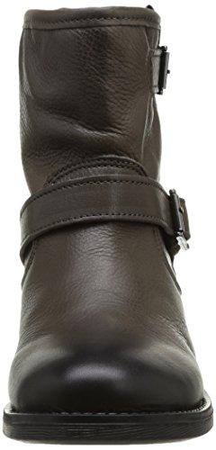 PIECES Iza Leather Zipper Boot Damen Stiefel Braun (Marron (Dk Grey))