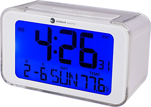 Ambient Weather RC-8320 Atomic Travel Alarm Clock with Temporary Backlight